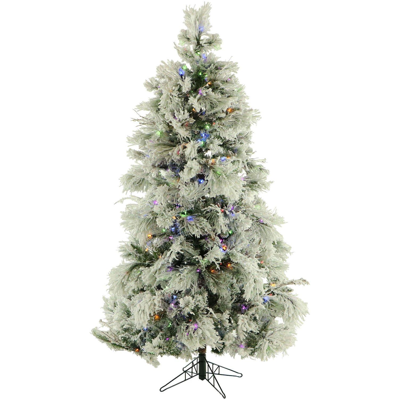 Amazon.com: 12 Ft. Flocked Snowy Pine Christmas Tree with Multi ...