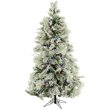 Flocked Christmas Tree Multicolor Lights