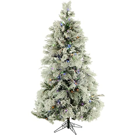 12 ft flocked snowy pine christmas tree with multi color led string lighting - 12 Ft Christmas Tree
