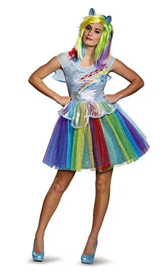 1771973b1c1d4 Disguise Women's My Little Pony Rainbow Dash Deluxe Costume, Multi, Small