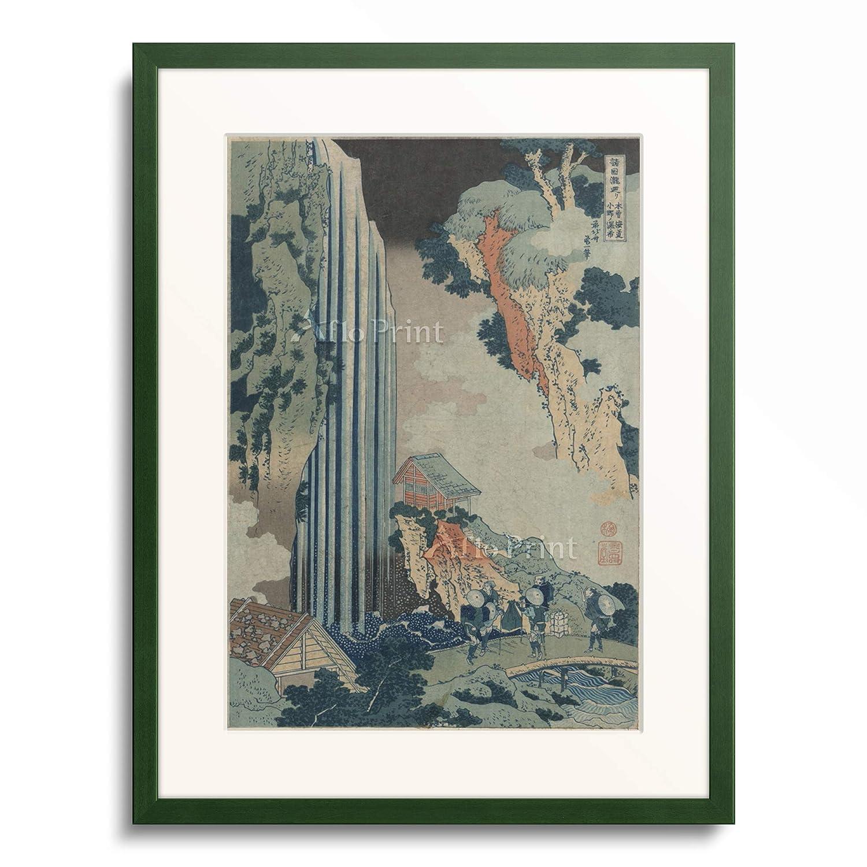 葛飾北斎 Katsushika Hokusai 「諸国瀧廻り 木曽海道小野ノ瀑布」 額装アート作品 S(額内寸 255mm×203mm) 12.木製額 13mm(緑) B07PTZBZNG