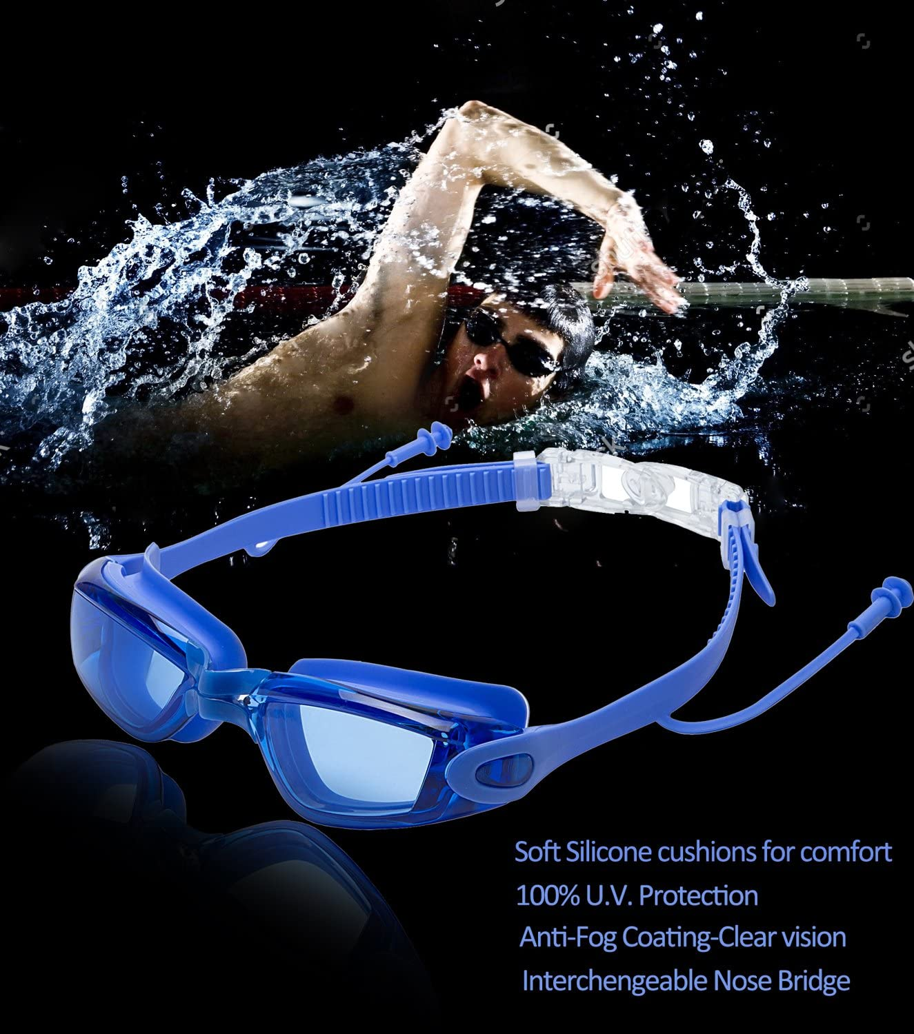 SBORTI Swim Goggles Swimming Goggles with Mirrored /& Waterproof Pack of 2 No Leaking Anti Fog UV Protection Swim Glasses Water Goggles Triathlon for Adult Men Women Youth Kids