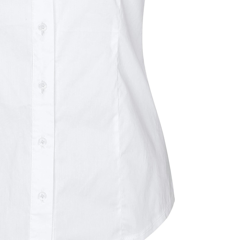 SUNNOW Fashion Donna Sottile Scollo a V Collo Scollo a Maniche Corte Camicia Solida Pieno Camicia da Lavoro