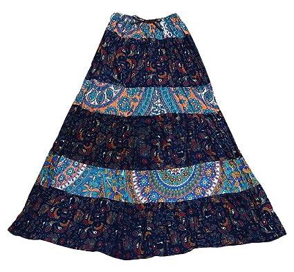 7f78fb6386d9 Indian Bollywood Frauen Lange Rock Baumwolle Gedruckt Lässig Tragen Sommer  Mode Rock
