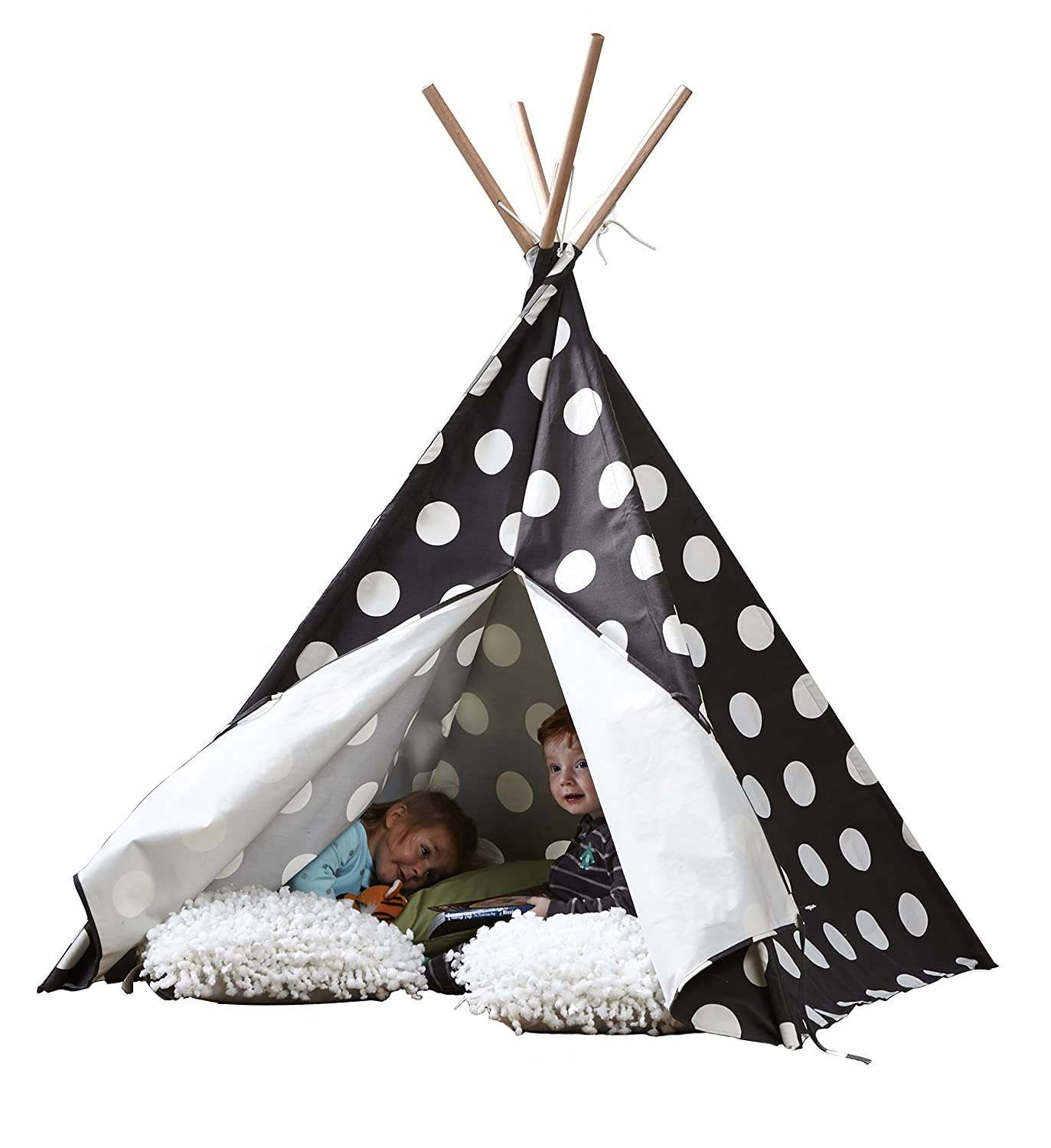 Kids Indoor Cotton Canvas Teepee Playhouse Tent Grey Play Tents