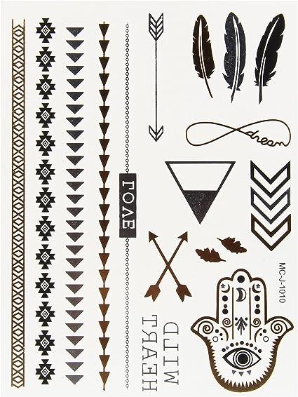 Beauty7 Pegatinas Impermeable de Tatuaje Metálico dorado temporal ...