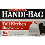 Handi-Bag HAB6FK100 Super Value Pack, 13 Gallon,0.6 Milliliters, 1 FT x 11 in, White (Box of 100)