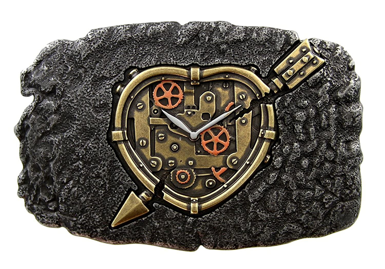 Hagora Men Ancient Brass Steampunk Heart Design Dark Oxide Gunmetal Belt Buckle