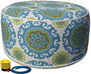 Kozyard Inflatable Stool Ottoman Used for Indoor or Outdoor, Kids or Adults, Camping or Home (Blue)