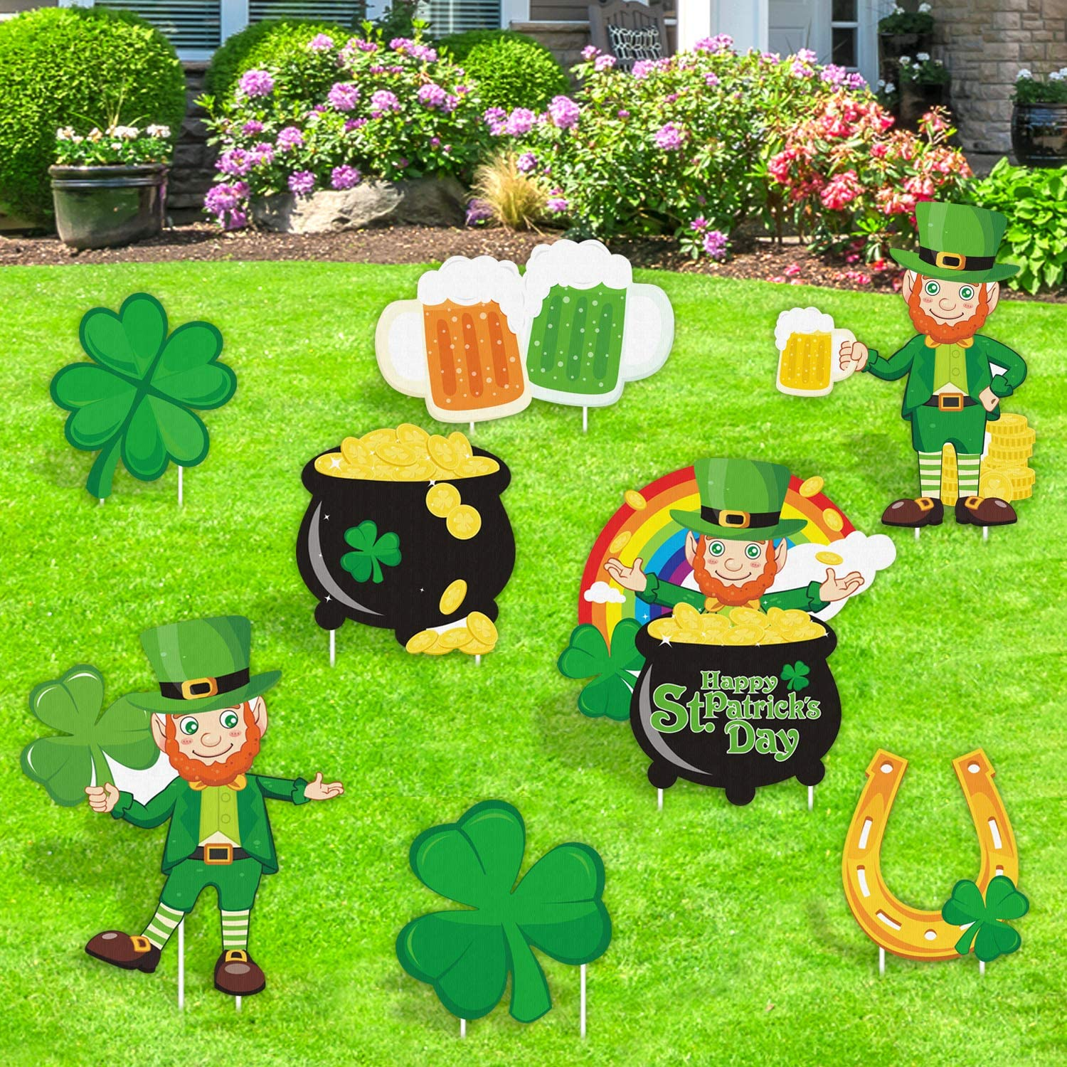 Huray Rayho Party St Patrick S Day Yard Signs Irish Saint Paddy S Day Outdoor Lawn Decorations Leprechaun Welcome Signage Shamrock Four Leaf Clover Horseshoe Pot Of Gold Garden Street Ornaments Set Home Kitchen Amazon Com