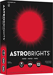 """Astrobrights Color Paper, 8.5"""" x 11"""", 24 lb/89 GSM, Re-Entry Red, 500 Sheets (21558)"""