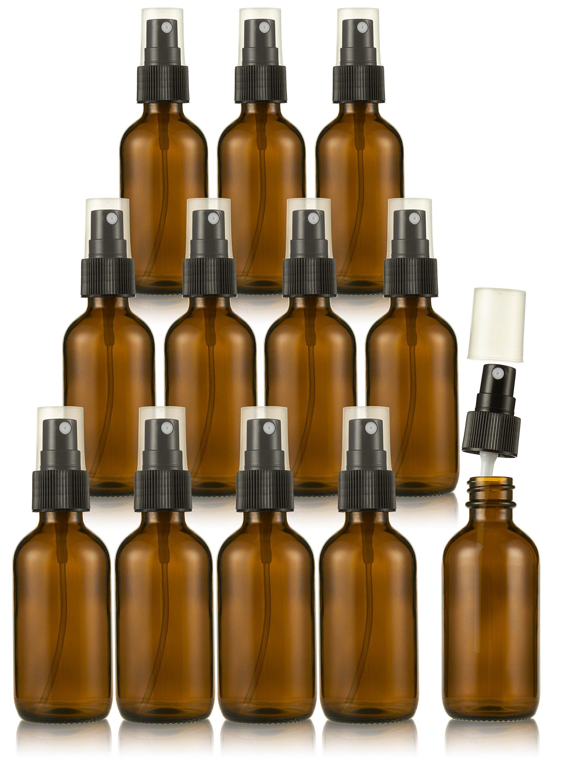 Amber Glass Spray Bottles - 12-Pack Boston Round Fine Mist Bottle with Atomizer Pump - Refillable Misting Sprayer Glass Bottle for Light Liquid, Essential Oils, Aromatherapy, Perfumes, Travel - 2 oz