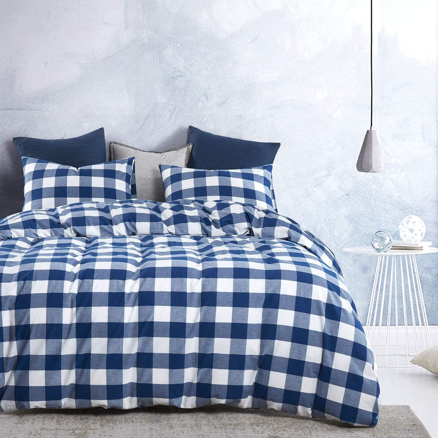 3pcs, Twin Size Wake In Cloud Plaid Duvet Cover Set 100/% Washed Cotton Bedding with Zipper Closure Buffalo Check Gingham Geometric Checker Printed in White Black and Gray