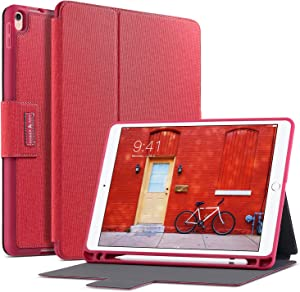 Amber & Ash iPad Folio Case - Protective, Slim Folding, Multi Angle Stand Cover with Smart Auto Sleep/Wake and Apple Pencil Holder – Fits 10.5 inch iPad Pro [Red]