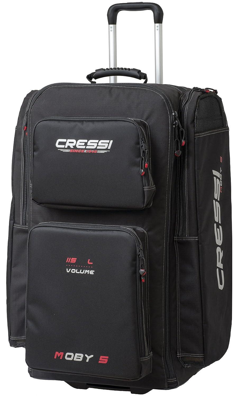 Cressi Moby 5, Borsa per Subacquei Unisex Adulto, Nero/Logo Rosso, Taglia Unica UB932200
