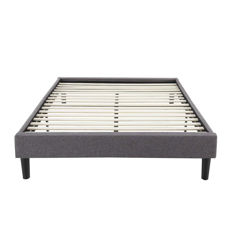 Modern Life Modern Grey Linen Fabric Platform Bed Full