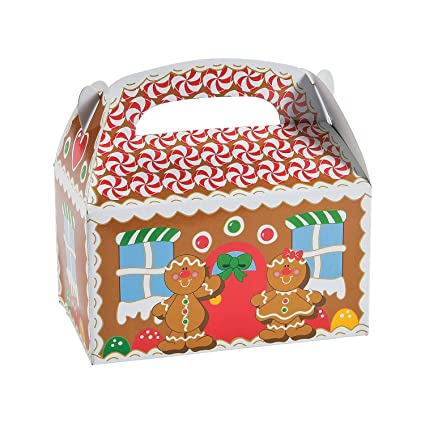 Fun Express Gingerbread House Cardboard Christmas Treat Boxes