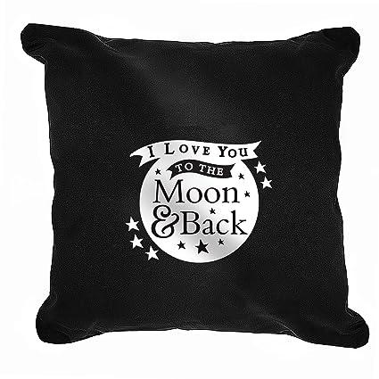 I Love You a la luna y Volver negro cojín para mi novia ...