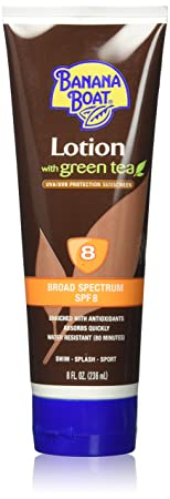 Banana Boat Lotion with Green Tea, 8 Ounces Broad Spectrum Sunscreen SPF 8