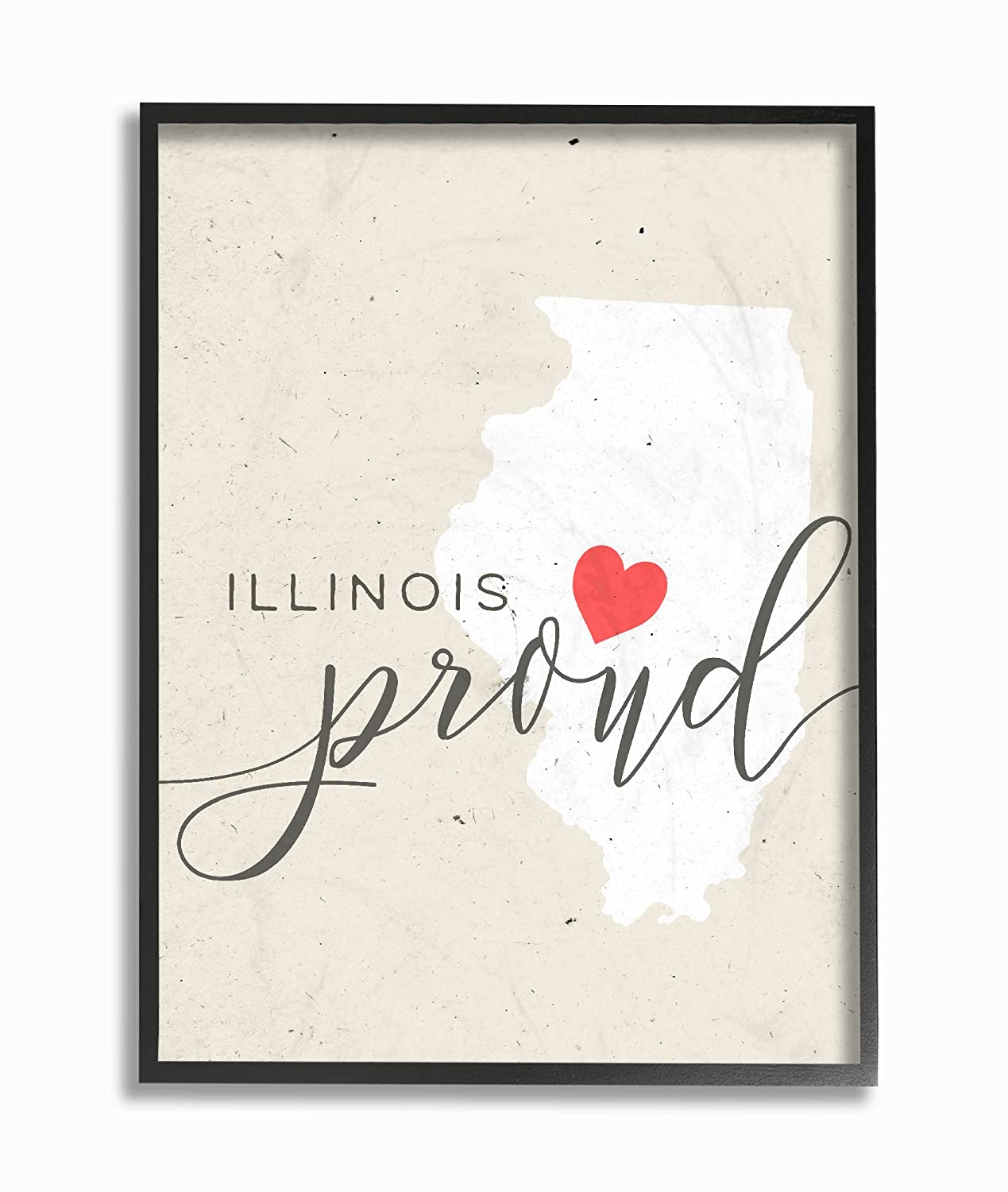 The Stupell Home Decor Collection Illinois Proud with Heart Wall Plaque Art 10 x 15,