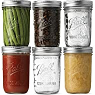 Ball Wide Mouth Mason Jars (16 oz/Capacity) [6 Pack] with Airtight lids and Bands. For Canning, Fermenting, Pickling, Decor - Freezing, Microwave & Dishwasher Safe. Bundled With SEWANTA Jar Opener