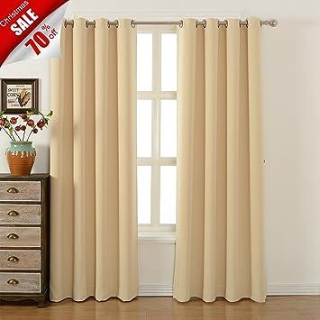 Blackout Bedroom Curtains Set ¨C 100% Polyester Grommet Top Room Darkening  Panels ¨C