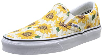 black and white checkerboard vans with sunflowers