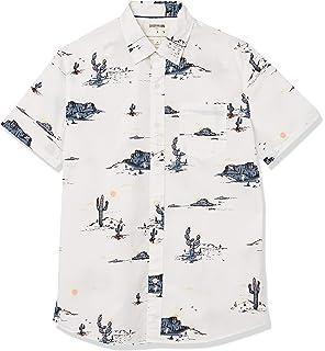 Marca Amazon - Goodthreads – Camisa estampada de manga corta de popelín y corte estándar para hombre: Amazon.es: Ropa y accesorios
