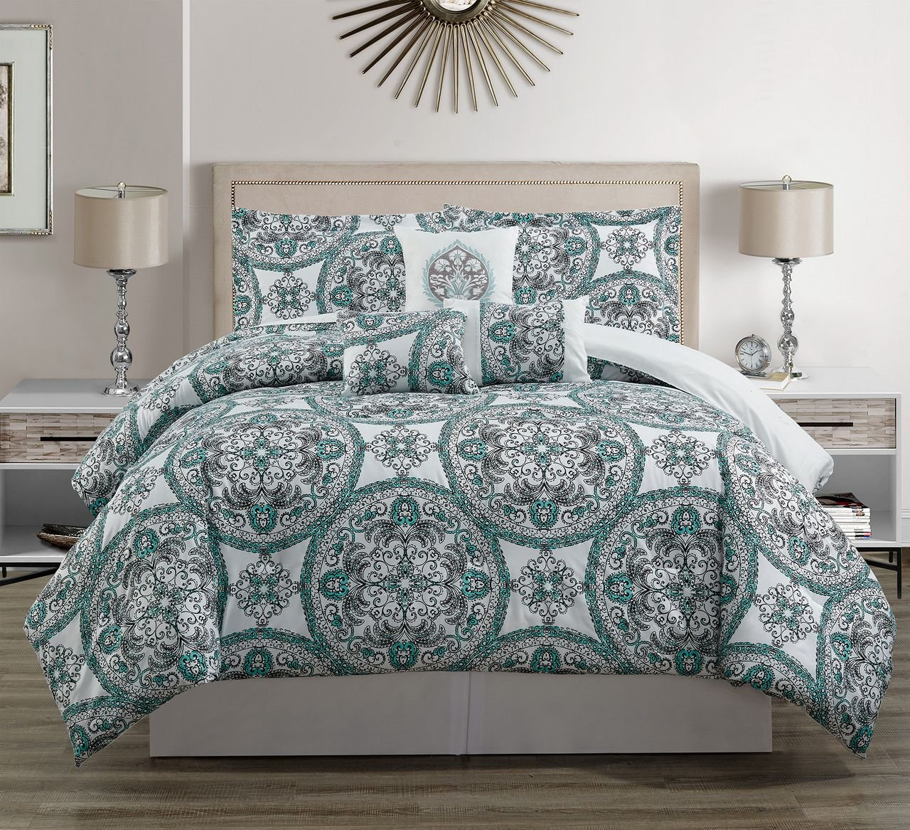 11 Piece Teal/Gray/White Bed in a Bag Set Queen