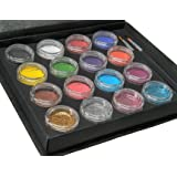Face Paint Kit + 50 Stencils By Bo Buggles Professional: Water-Based XL Face Painting Palette. Loved By Pros For Vibrant Detailed Designs. 12x10 gram Paints, 4x10ml Glitters, 2 Brushes. Non-Toxic.