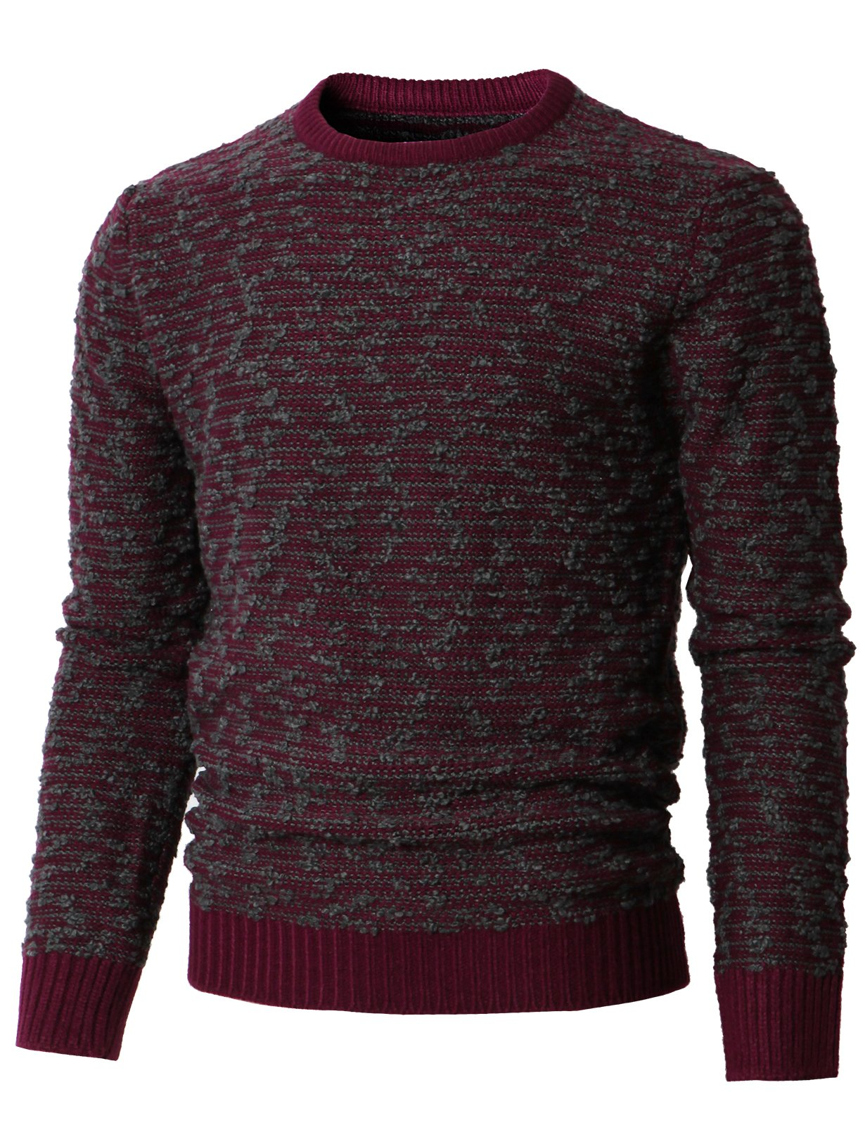 H2H Mens Chic Fine Knit O-Neck Coton Jumper Pullover Contrast Color Sweater Wine US S/Asia M (KMOSWL0234)