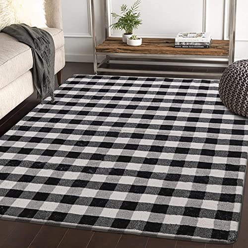 HAOCOO Buffalo Plaid Area Rugs 4 x5.3 Large Modern Geometric Throw Rugs Super Soft Velvet Non-Slip Accent Distressed Floor Carpet for Bedroom Living Room Nursery