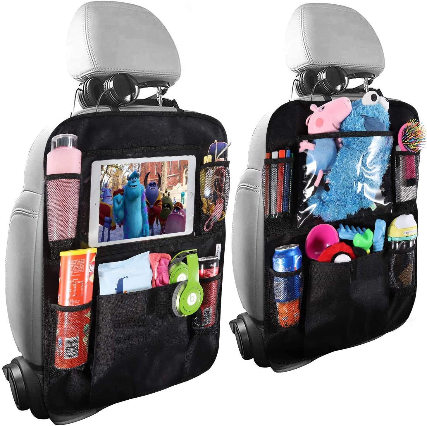 9 Storage Pockets Seat Back Protectors Kick Mats for Kids Toddlers Travel Accessories Car Backseat Organizer with 10 Table Holder