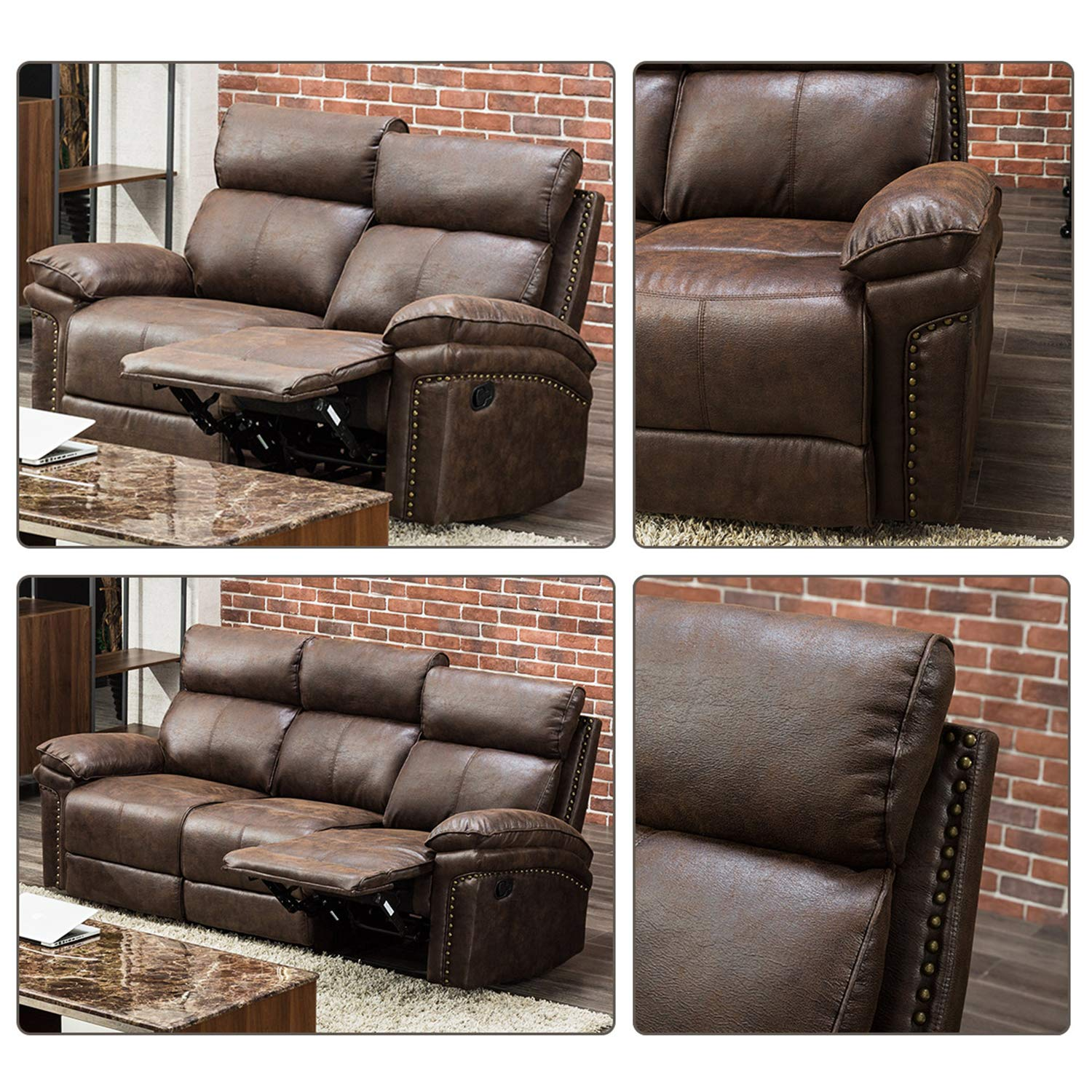FLIEKS Sectional Sofa Reclining Couch Recliner Sofa Chair Leather Sofa  Couches for Living Room Accent Chair Set (Loveseat+3-Seat)