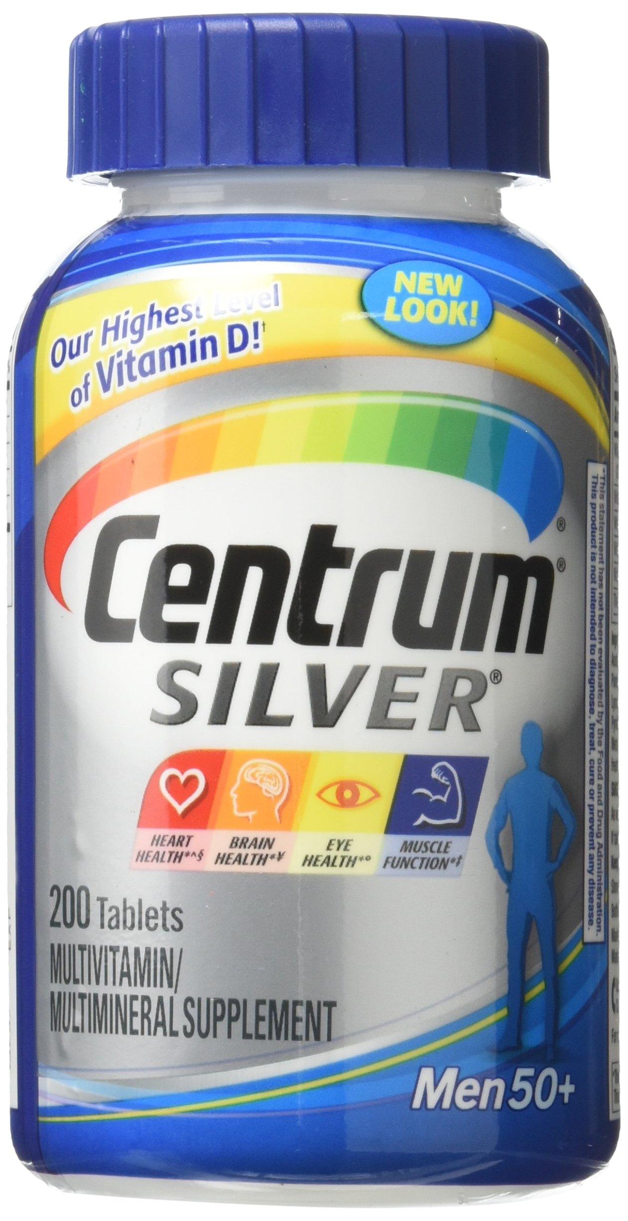Centrum Silver Men Multivitamin / Multimineral Supplement Tablet, Vitamin D, Age 50+ (200 Count)