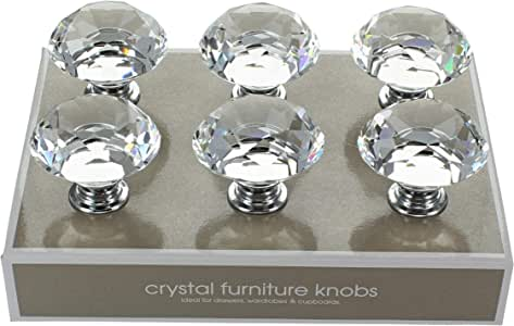 G Decor England Pack of 6 x 40mm Clear Crystal Diamond Glass Knobs Contemporary Cabinet Pulls for Cabinets, Drawers and Dressers–Decorative Drawer Knobs for Living Room, Bathroom Fixtures, or Kitchen Cabinetry