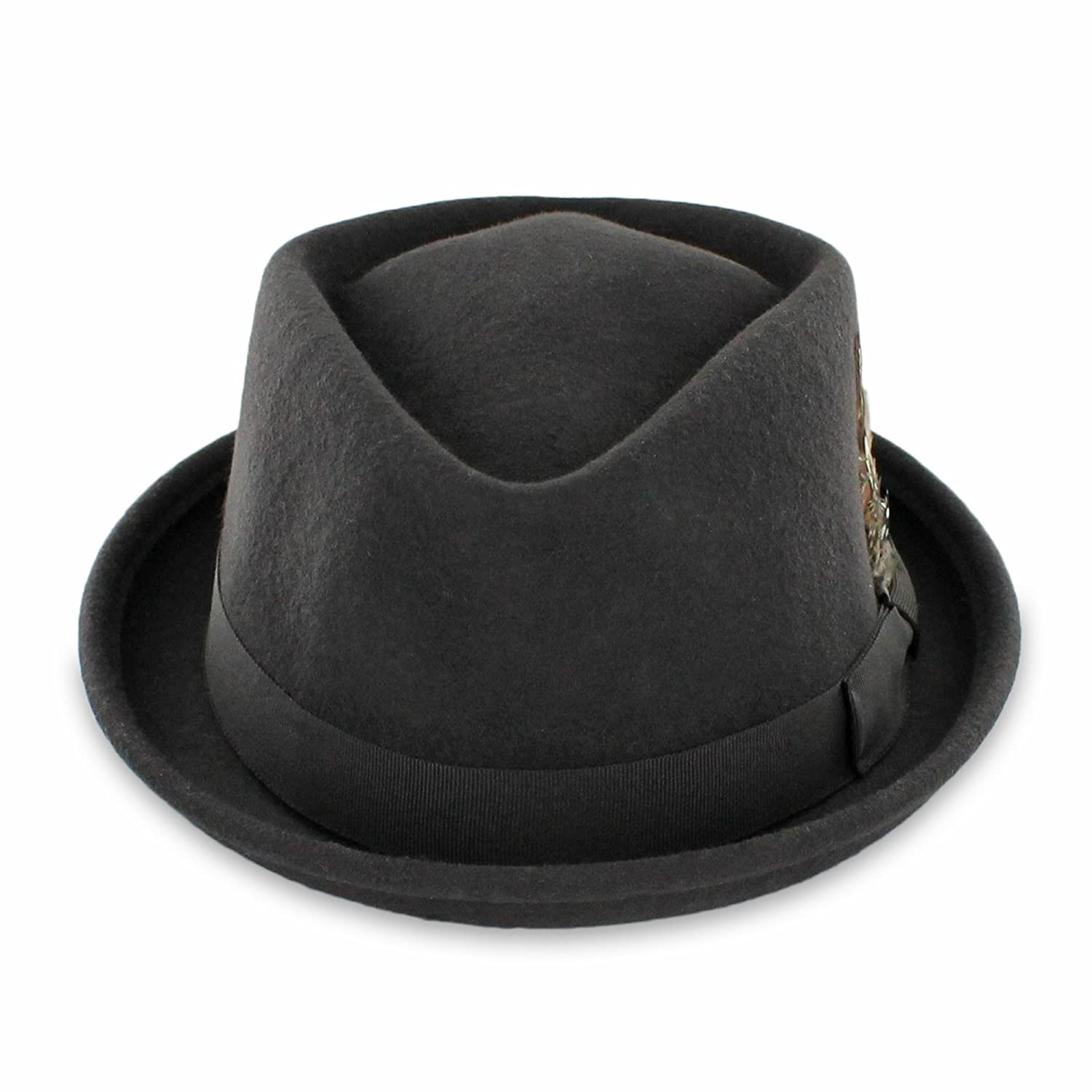 0cbb42dd9 Belfry Crushable Porkpie Fedora Hat Men's Vintage Style 100% Pure Wool in  Black Brown Grey Navy Pecan and Striped Band
