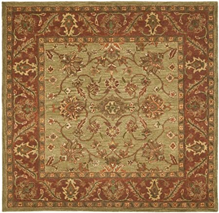 Area Rug 8x8 Square Traditional Green Rust Color