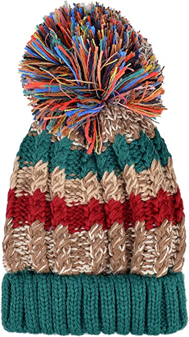 Handmade Acrylic Slouchy Hat Beanie Boho Women Teens Multi-Color Fall Colors