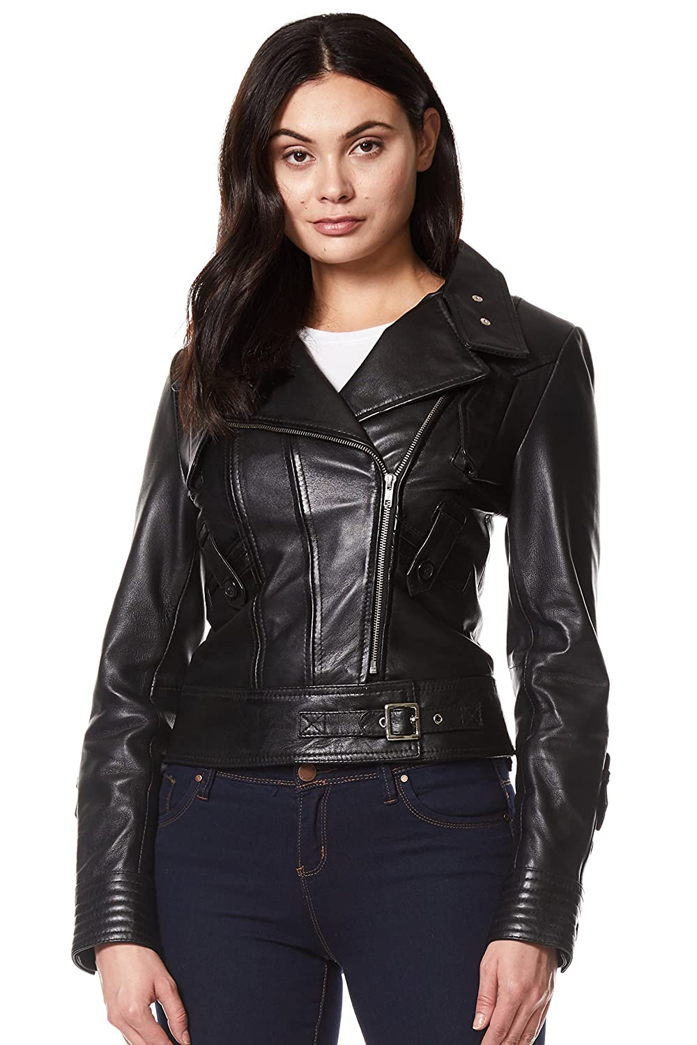 Carrie CH Hoxton Ladies Black Rock 'Supermodel' Biker Style Designer 100% Real Napa Leather Jacket
