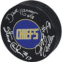 Dave, Jeff & Steve Hanson Charlestown Chiefs Autographed Hockey Puck - Slap Shot - Autographed NHL Pucks photo