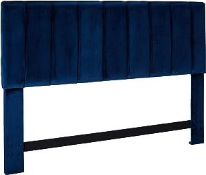 Iconic Home Uriella Headboard Velvet Upholstered Vertical Striped Modern Transitional, King, Navy