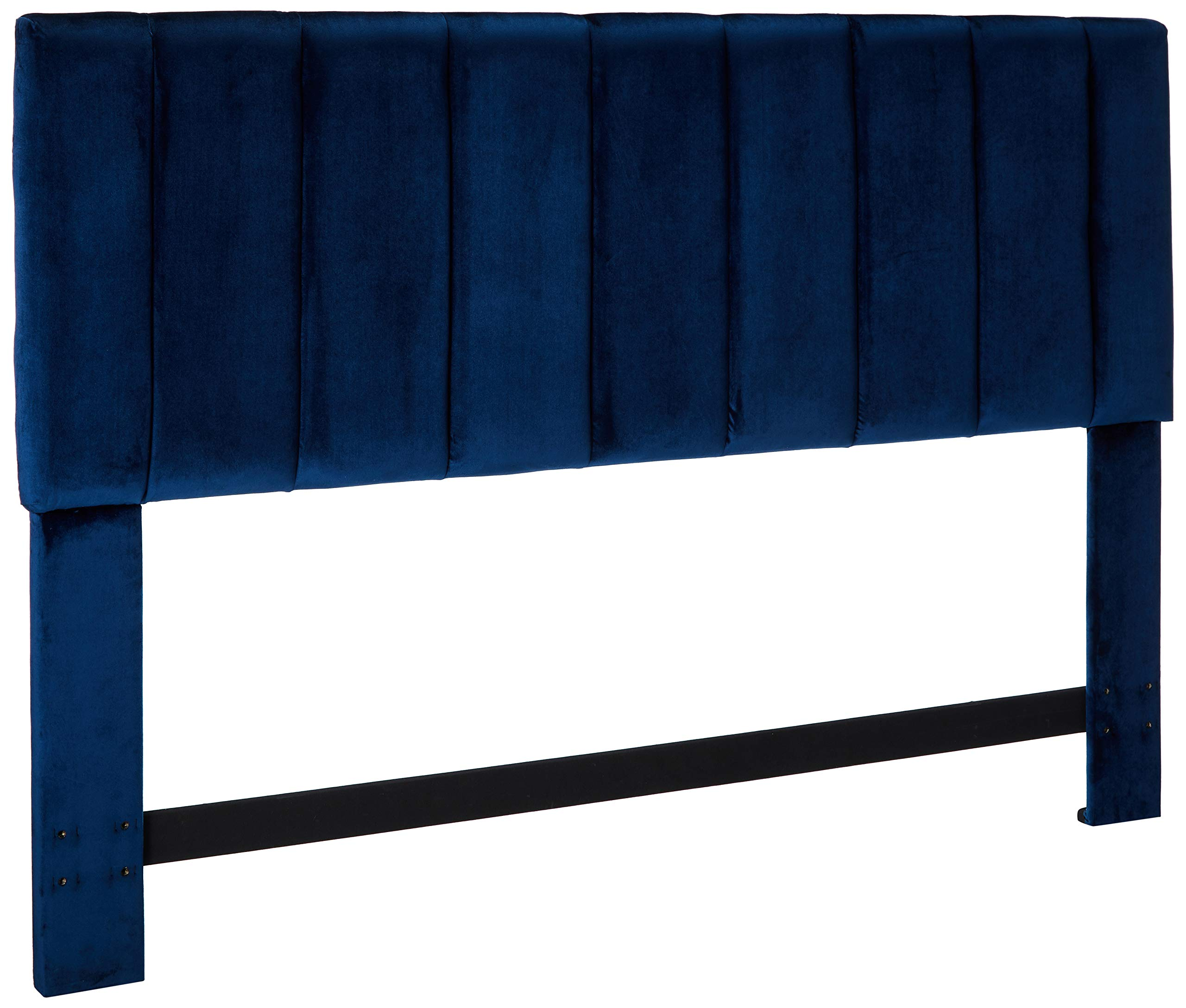 Iconic Home FHB9047-AN Uriella Headboard Velvet Upholstered Vertical Striped Modern Transitional, King, Navy by Iconic Home