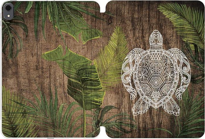 Cavka Case for Apple iPad 12.9 Pro 11 10.5 9.7 10.2 Air 3 2 Mini 5 4 3 2 1 2019 2018 2017 Palm Turtle Clear Slim Auto Wake Sleep Leaves Nature Mandala Women Boho Tropical Wood Magnetic Closure