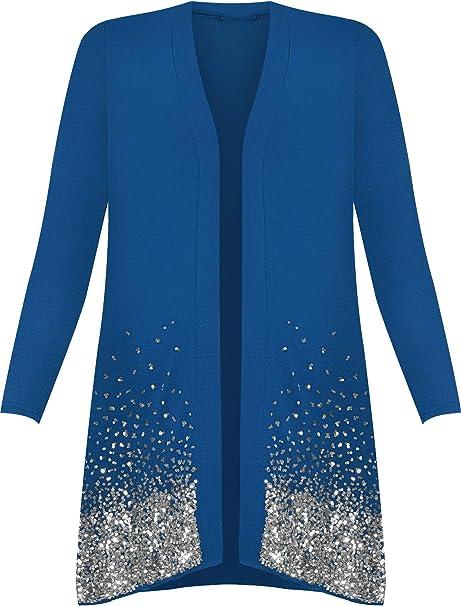 NUOVA Collezione Donna Taglie Forti Blu Aperto Cardigan 16-22