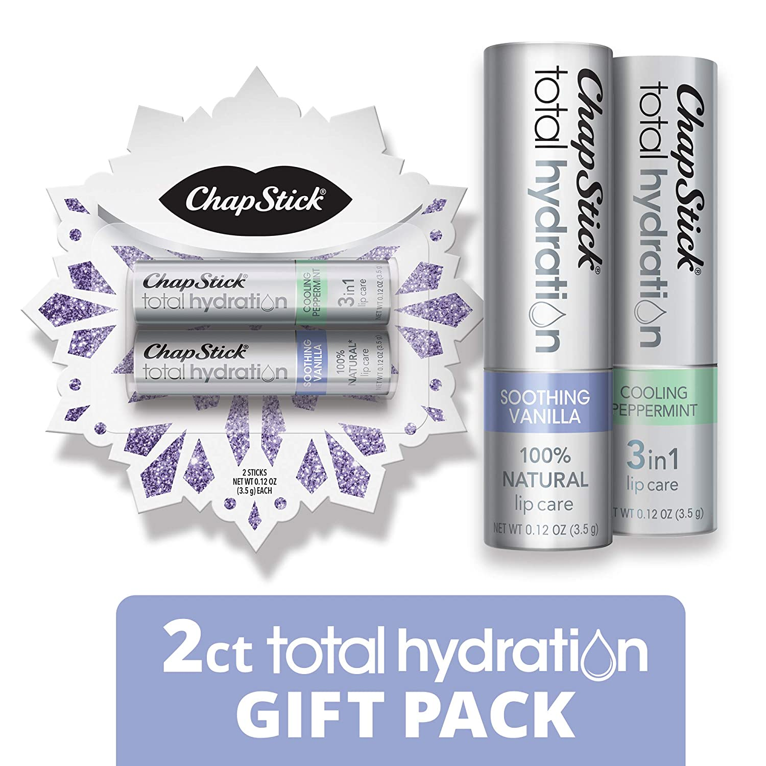 ChapStick Total Hydration Lip Balm Holiday Snowflake Gift Pack (Soothing Vanilla, Cooling Peppermint, 0.15 Ounce, 2 Sticks), Lip Care, Moisturizer and Therapy, Skin Protectant, Stocking Stuffer