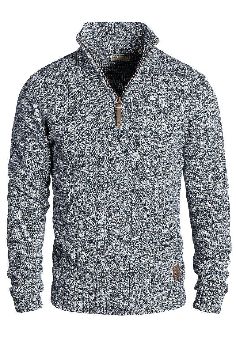 !Solid Pankraz Herren Strickpullover Troyer Grobstrick Pullover Aus 100% Baumwolle Mit Zopfstrickmuster und Reißverschluss