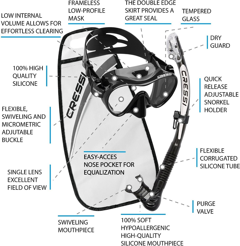Alpha Ultra Dry Packs de Snorkel Cressi F1 Unisex Adulto