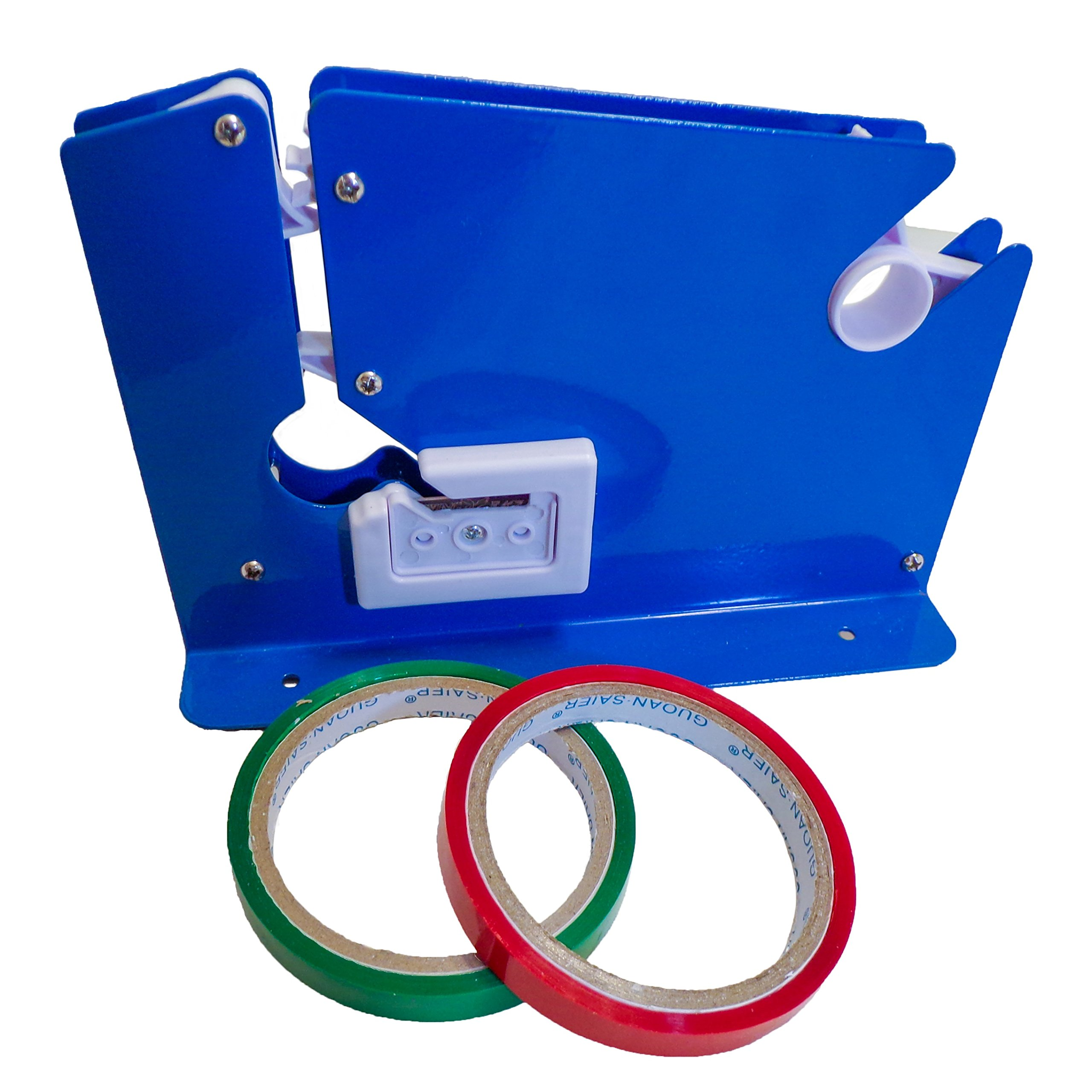 Bag Neck Sealer w/Trimmer Tape Dispenser Desktop Blue With 2 Rolls Tape (Blue, sealer w/ 2 Rolls) Colors may vary