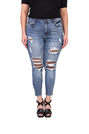 cb386a92689 Cello Jeans Women Plus Size Crop Skinny Jeans with Fishnet Mesh 14 Medium  Denim